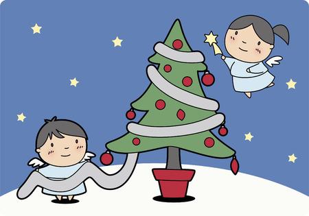 Christmas angels producing the christmas tree