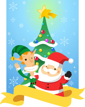 Chistmas characters cartoon banner design Vector