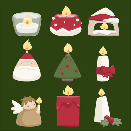 candle flame: Chistmas candles decorative icons
