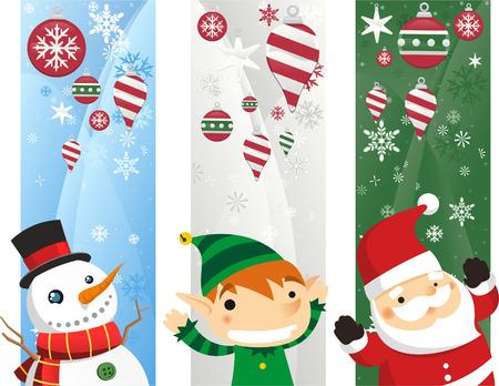 botas de navidad: Banderas de Año Nuevo con los personajes, ilustración Vectores