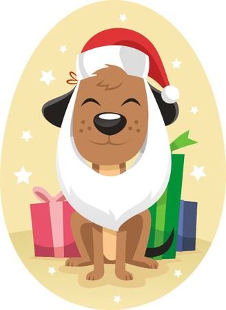 period costume: Dog dressed for christmas cartoon illustration