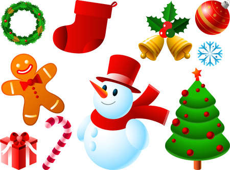 botas de navidad: Iconos del vector de Navidad