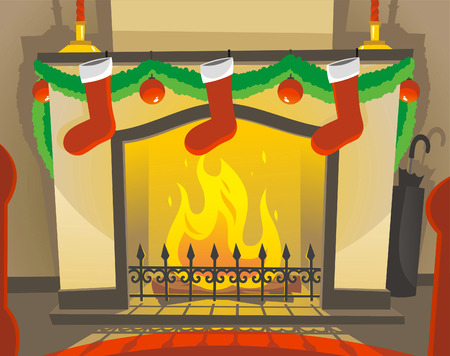 botas de navidad: Chimenea encendida en una ilustración de la noche de Navidad de dibujos animados