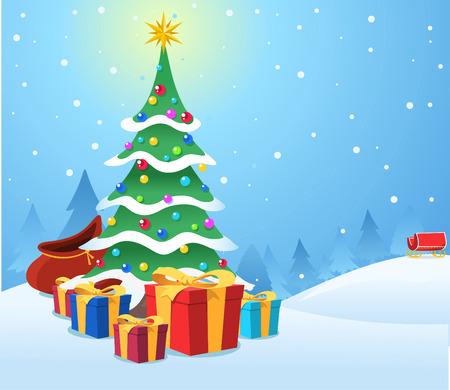 winter tree: Christmas night scene with presents