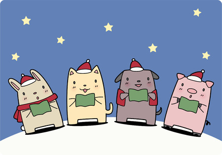 caroler: Pets singing a christmas carol