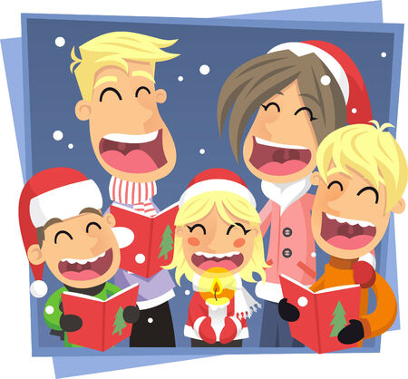 caroler: Family singing Christmas carol