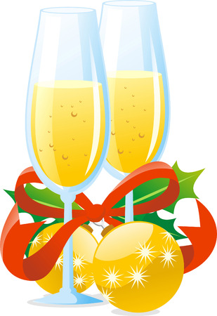 Chistmas toast preparation with champagne and tree decoration