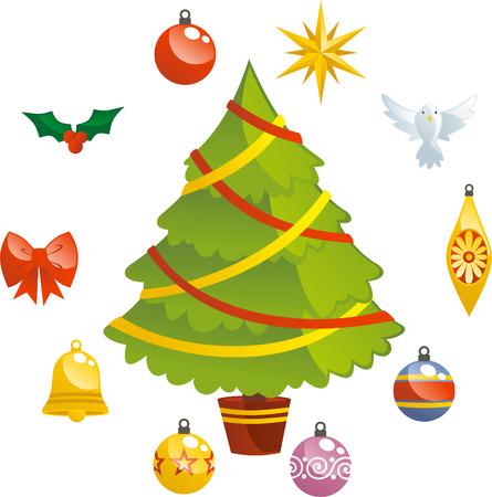 Chistmas tree with decoration icons Illusztráció
