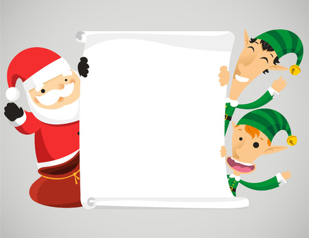 Christmas characters holding banner