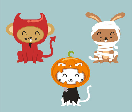 Halloween animals cat, hare and mouse in cartoon costumes