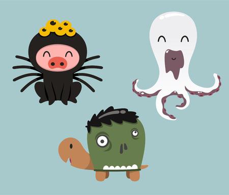 Halloween animals in cartoon costumes of pig, turtle and octopus Vector