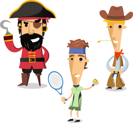 period costume: Halloween night cartoon costumes of pirate, tennis player and cowboy