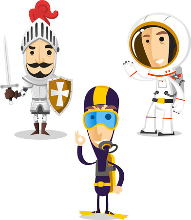 period costume: Halloween night cartoon costumes of knight, diver and astronaut