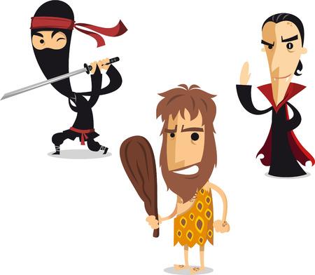vestidos de epoca: La noche de Halloween ilustración de dibujos animados traje ninja, hombre de las cavernas y el vampiro