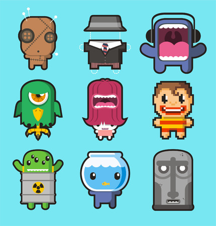 no teeth smile: Cute little monsters illustrrations