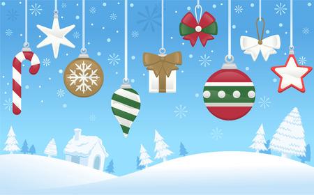 Noordpool kerstboom decoratie scene Stock Illustratie