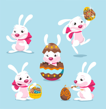 easter bunny cartoon set