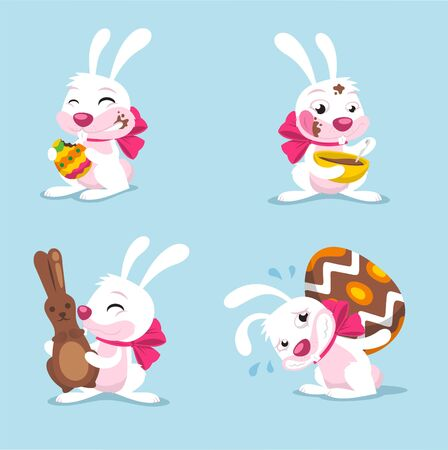 the christian religion: easter bunny cartoon set