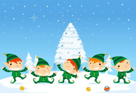 SantaÂ's Elfos celebración de la Navidad