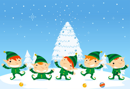 elfos navideÑos: SantaÂ's Elfos celebración de la Navidad