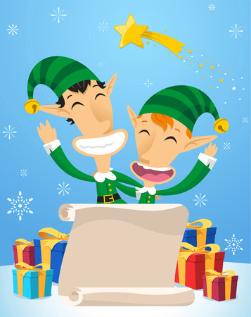 Santa´s Elves with christmas presents Vector