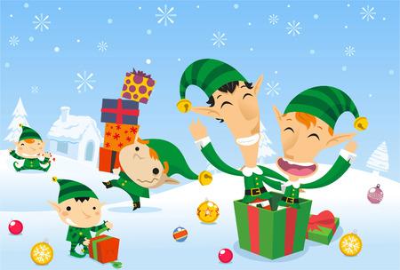 neige noel: Elfes Santa's travail au p�le nord