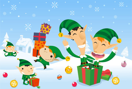christmas celebration: Santa´s elves working at the north pole
