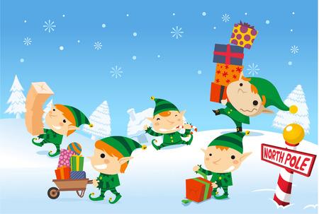Elfes Santa's travail au pôle nord Banque d'images - 33788698