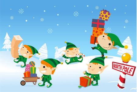 distributing: Santa´s elves working at the north pole
