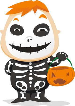skeleton costume: Little boy wearing a skeleton costume