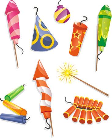 Firecrackers cartoon illustration collection