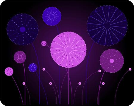 retro Fireworks cartoon illustration collection Иллюстрация