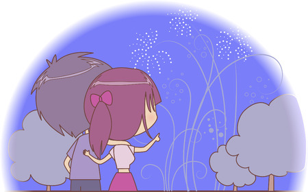 hollyday: Couple watching fireworks on a hollyday night Illustration
