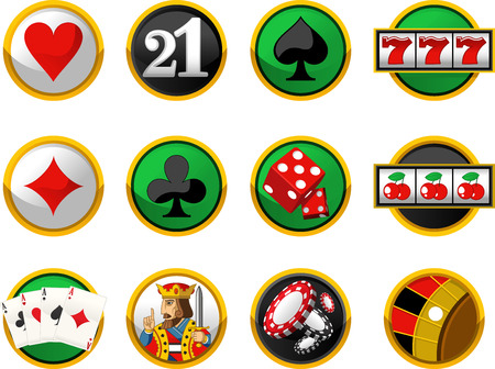 Gambling icon set, with pocker Cards, cards Suits, Casino Chips, and dice Dice vectoy illustration cartoon. Stock Illustratie