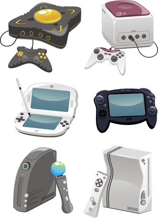 joy pad: video game consoles illustrations close to modern consoles, some invented. Illustration