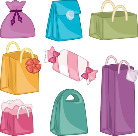 bolsa de regalo: Bolsa de regalo de dibujos animados colecci�n Vectores