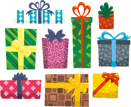 holiday celebrations: Hollyday gift cartoon illustration collection
