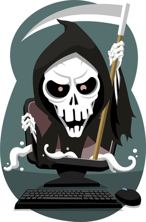 judgement day: Grim Reaper coming out of computer, vector illustration cartoon.