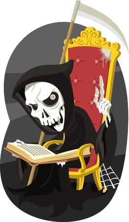 judgement day: Grim Reaper Reading the Book of Death, vector illustration cartoon