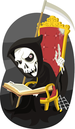 Grim Reaper Reading the Book of Death, vector illustration cartoon