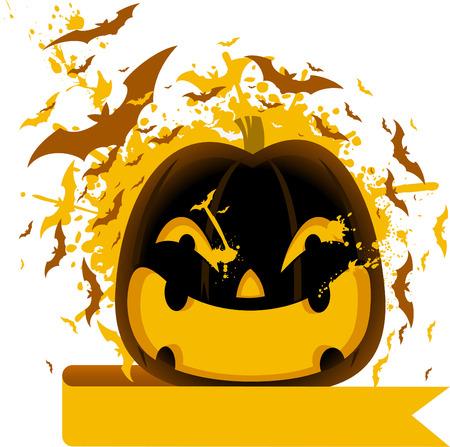 carved pumpkin: Halloween carved pumpkin with bats illustration