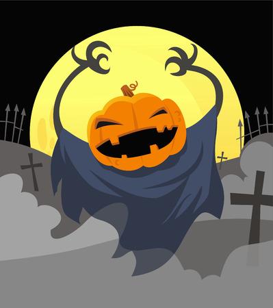 Jack o lantern scary halloween cartoon illustration Illustration