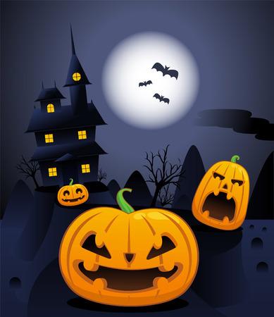 Halloween night scary pumpkin illustration