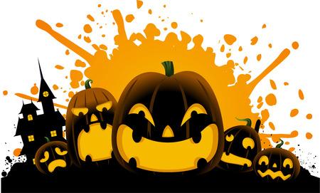 carved pumpkin: Halloween carved pumpkin scary splash