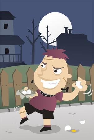 Halloween Night Guising Garnments Tricks and Pranks Illustration
