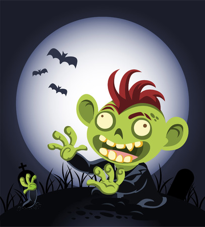 Halloween cartoon zombie coming out of the graveyard vector illustration