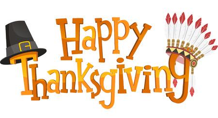 happy: Happy Thanksgiving Banner Sign, vector illustration image. Illustration