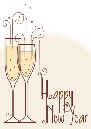 new years eve dinner: Happy new year illustration sign