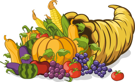 Cornucopia or horn of plenty vector illustration Illustration