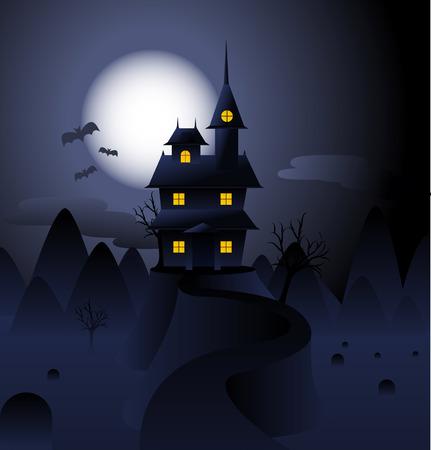 Halloween Hunted house dark night full moon and bats flying